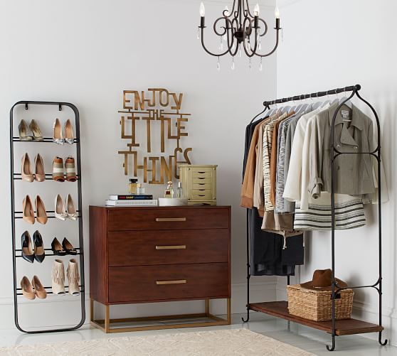 basic makeshift closet for small spaces