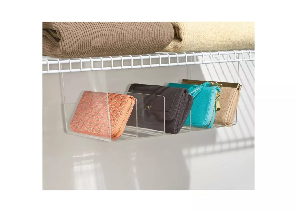 4-compartment acrylic hanging organizer tray for purses