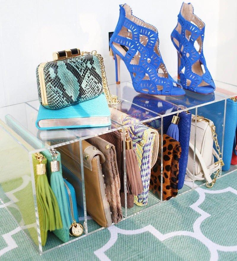 acrylic purse and handbag storage organizer