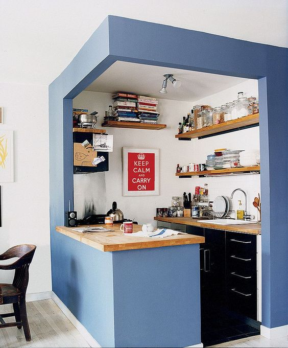 bold blue paint in tiny kitchen