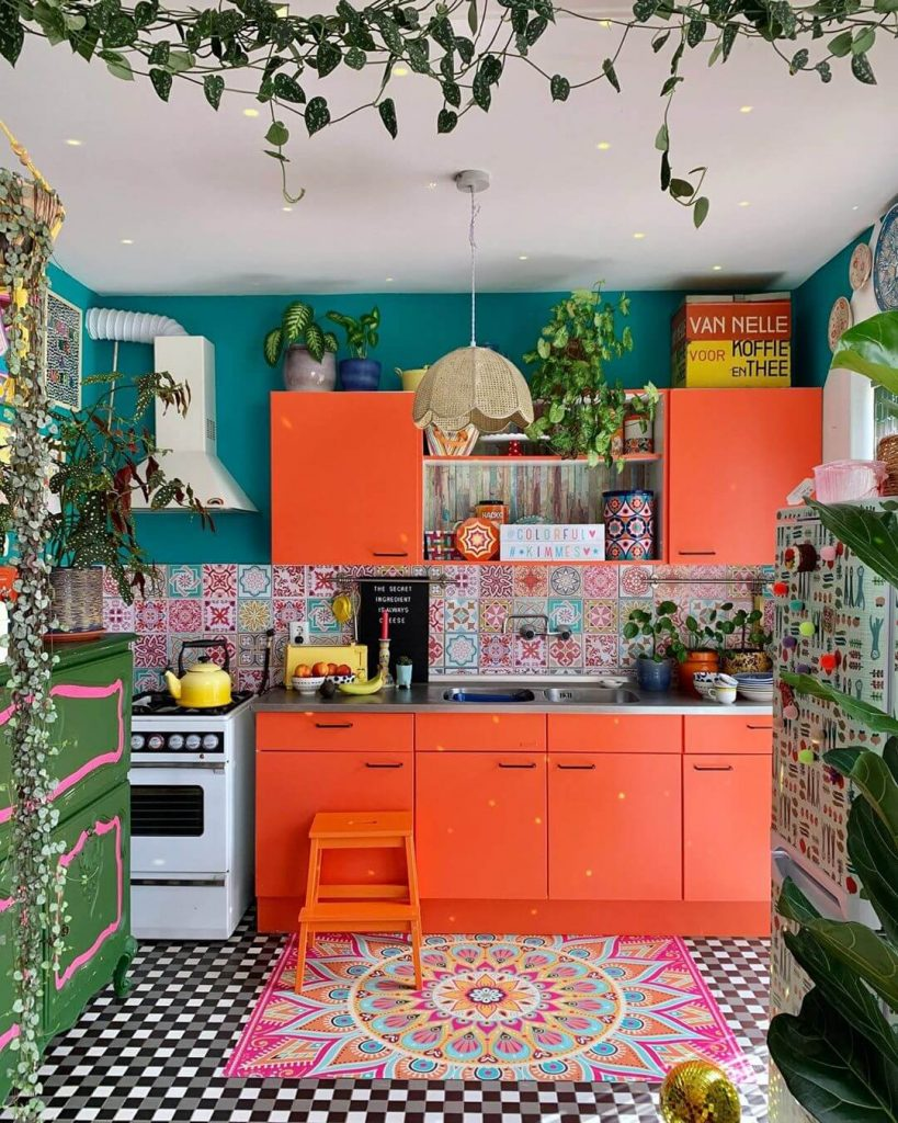 small bold orange and blue boho kitchen