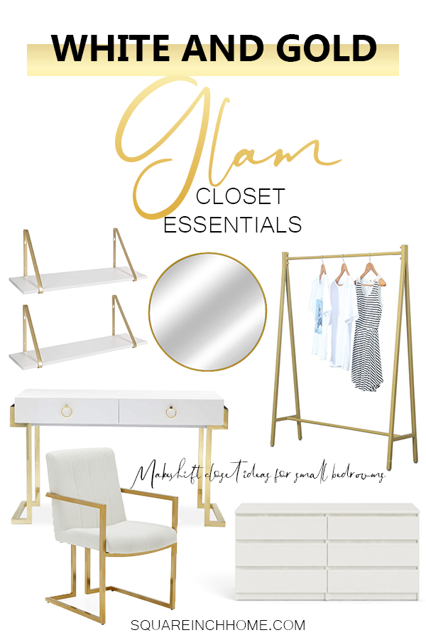 gold and white makeshift closet for small bedrooms with no closet