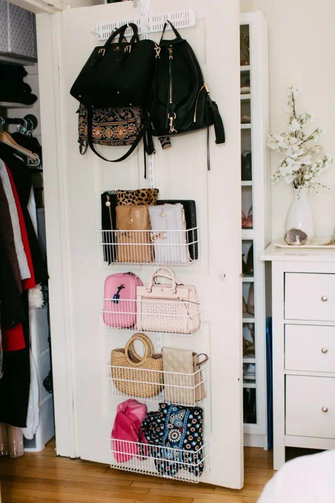 behind the door handbag storage unit ideas