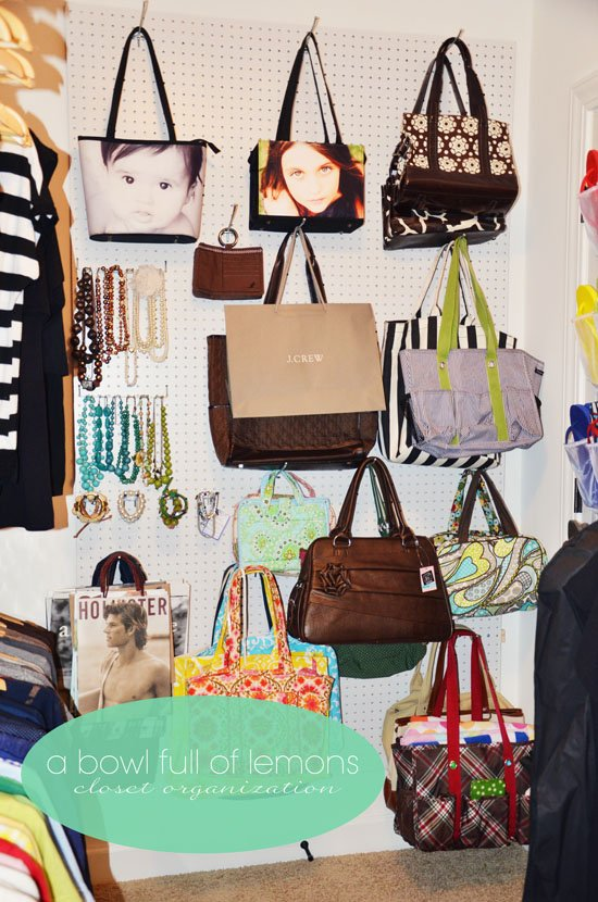 pegboard handbag storage ideas
