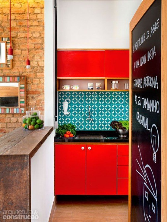 bold red small  kitchen ideas