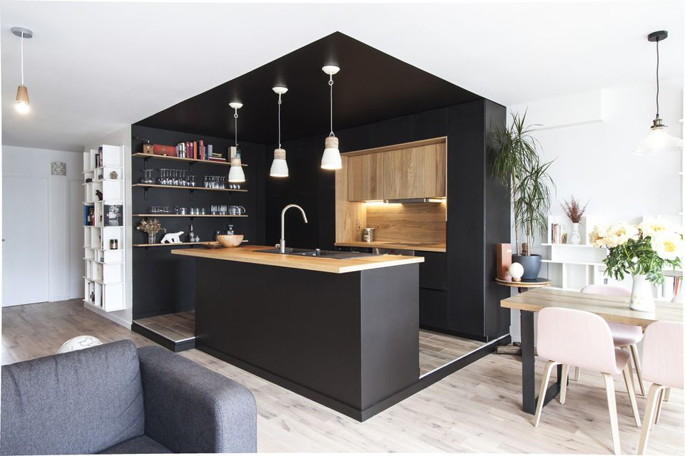 black color-zone walls in small kitchen