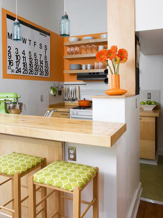 orange paint in small kitchen