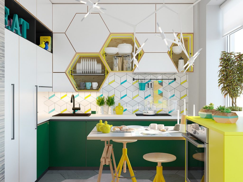 bold green and yellow color in hexagon small kitchen