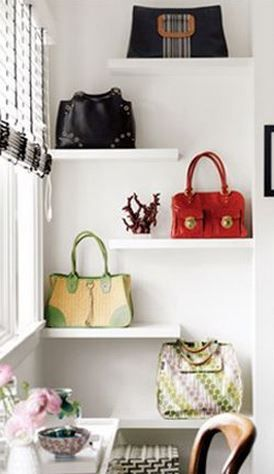 floating shelf handbag storage ideas