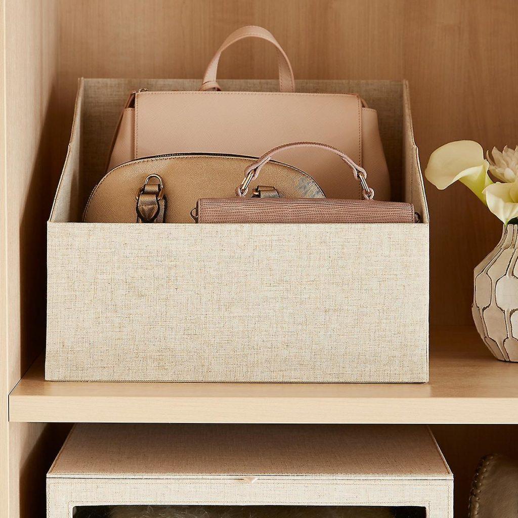 handbag storage ideas using bins and baskets