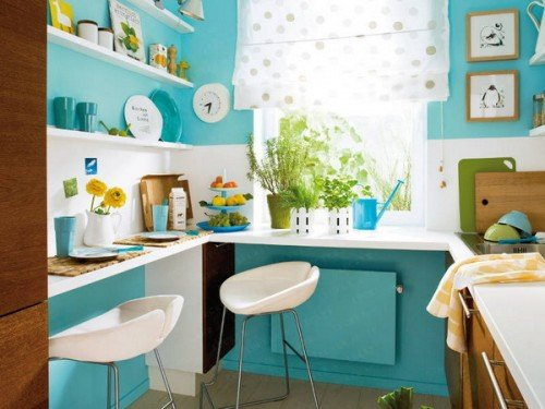 light blue small kitchen