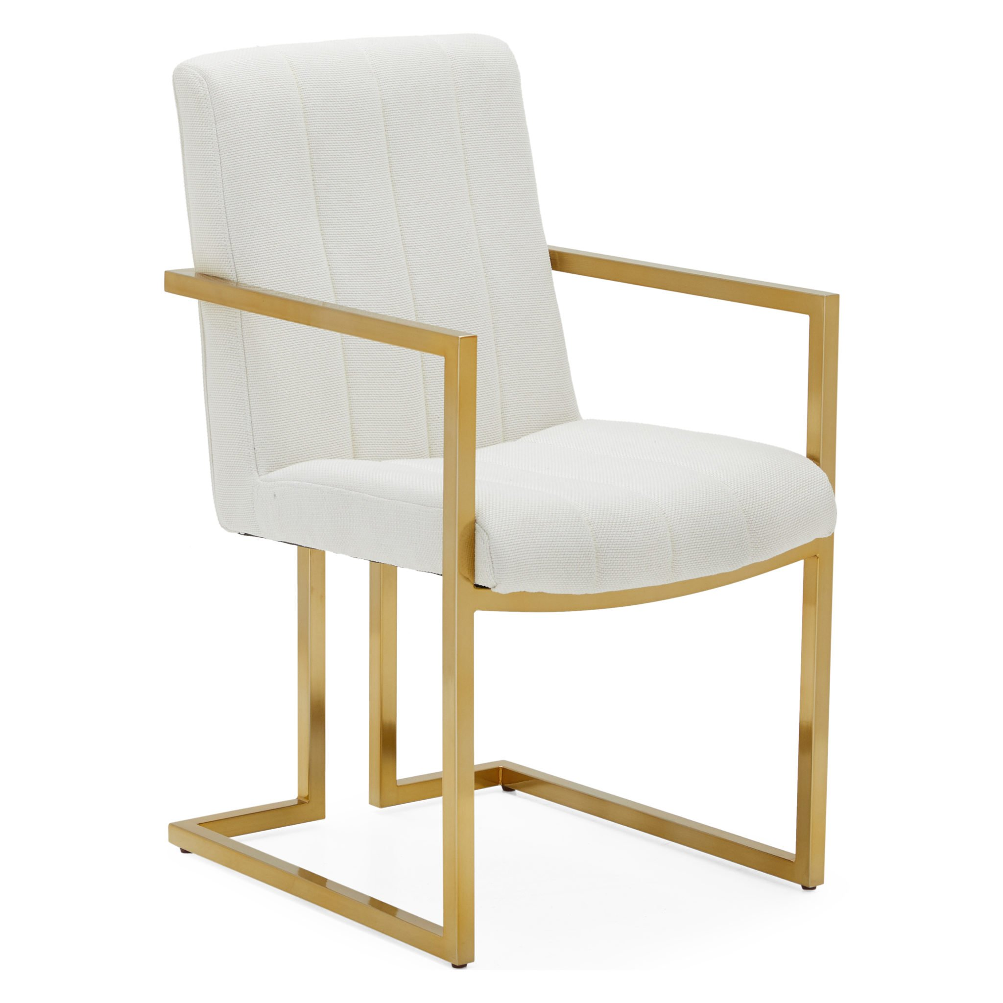 gold and white vanity chair