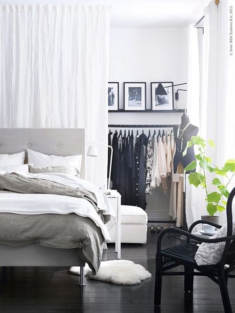 walk-in closet behind bed idea for small bedrooms with no closet