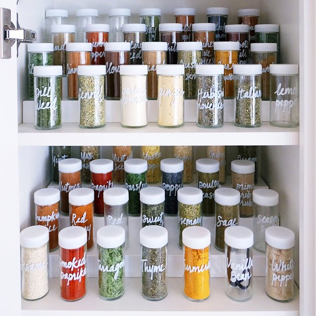 Declutter your spice cabinet with matching storage containers