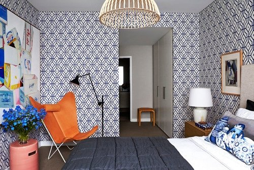 contemporary busy wallpaper in small room