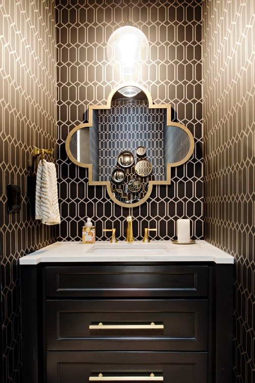 seamless geometric wallpaper in small bathroom