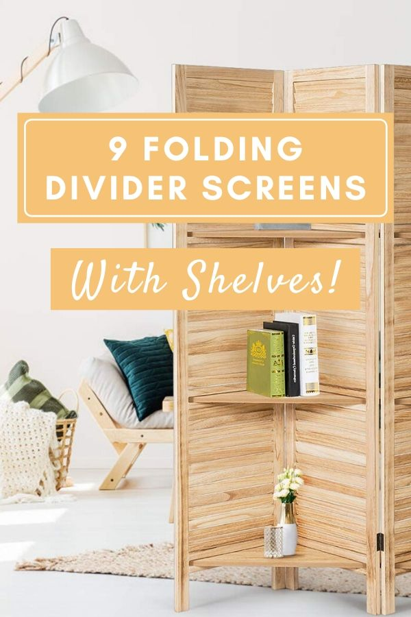 folding room divider screens with shelves