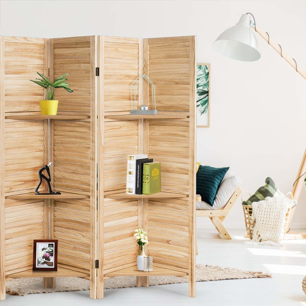 wood folding room divider screens with shelves