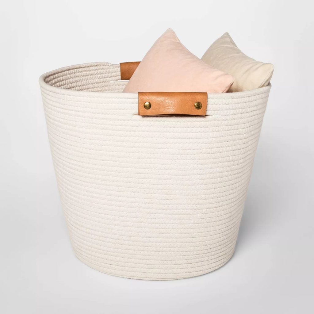 white decorative rope storage basket with leather handles