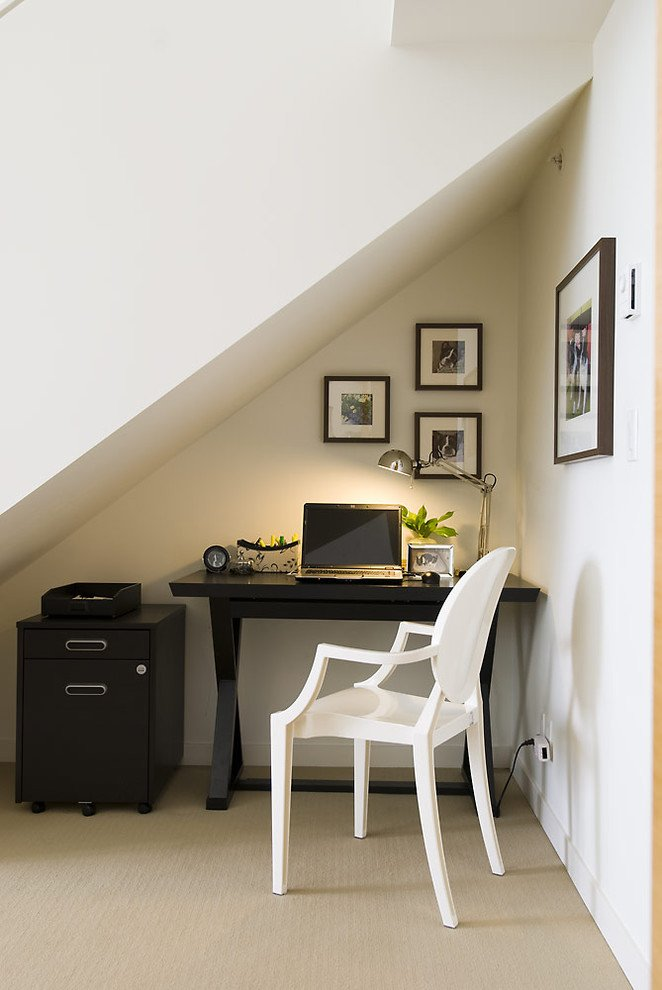 small office nook under the stairs