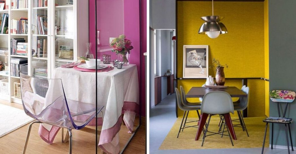 color-zoning to create a dining areas in small studio