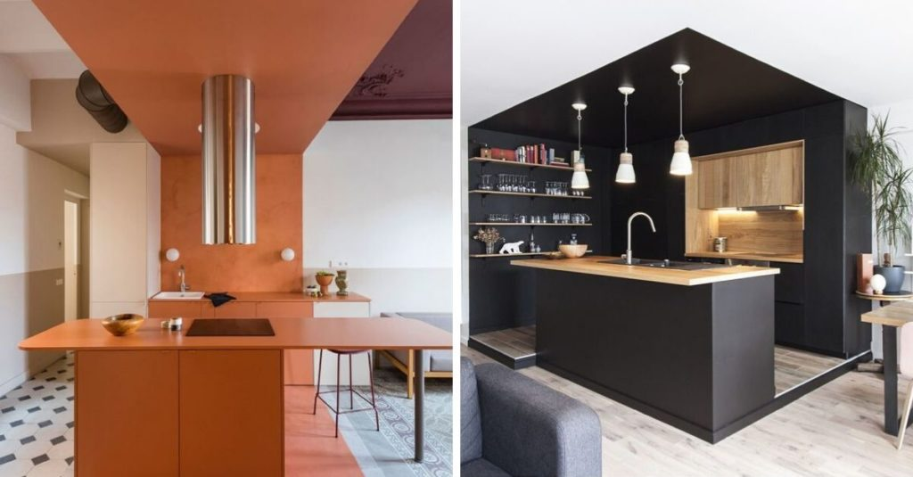 separate kitchen in a studio with color-zoning