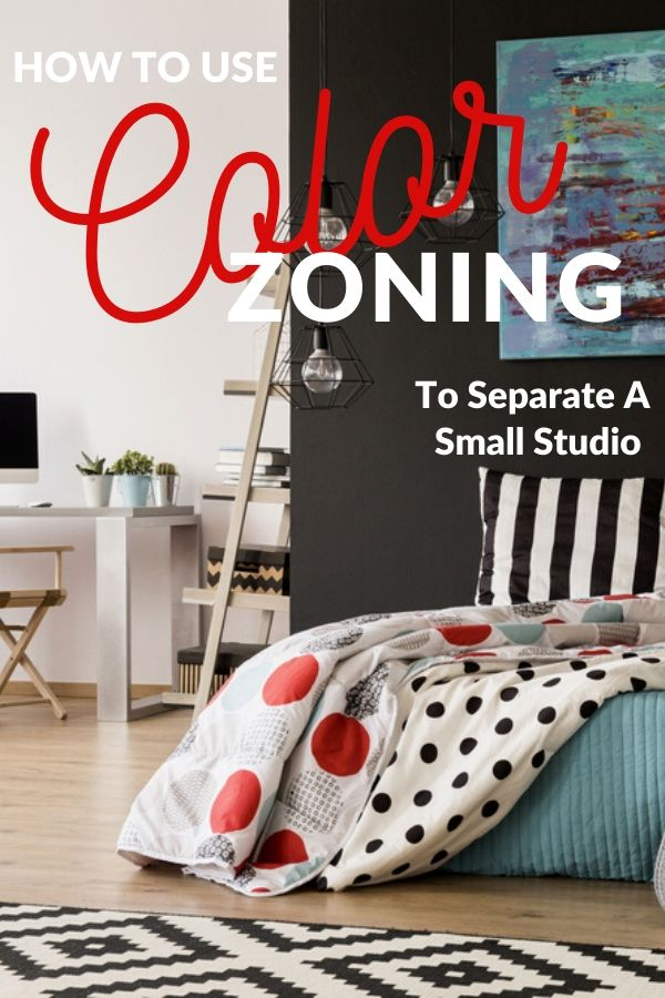 color-zoning Ideas for separating a studio apartment Pinterest