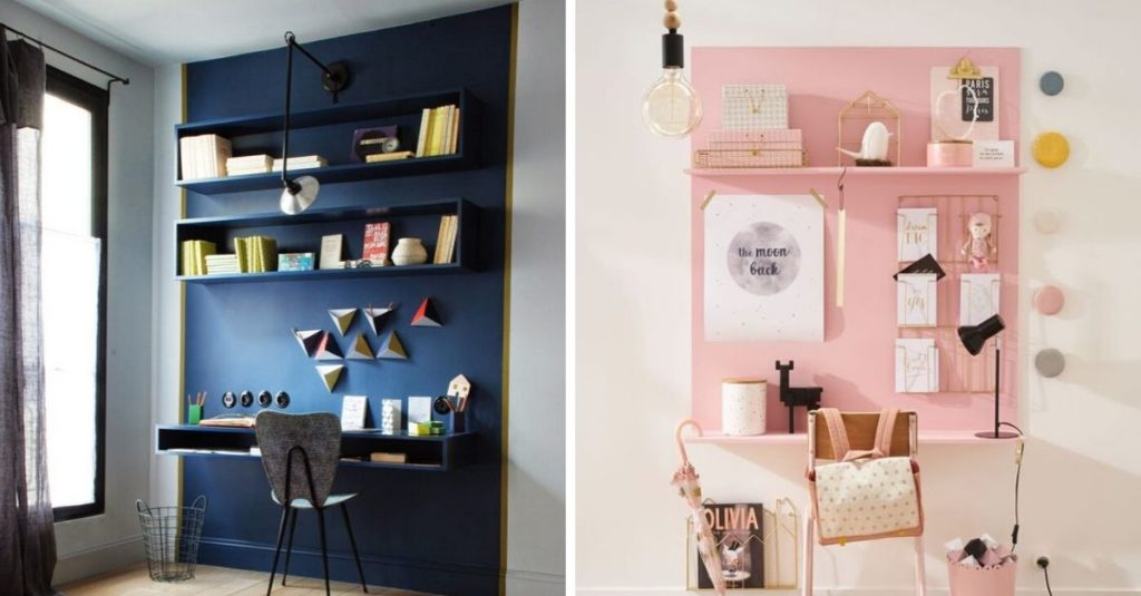 create an office space in a studio with color zoning