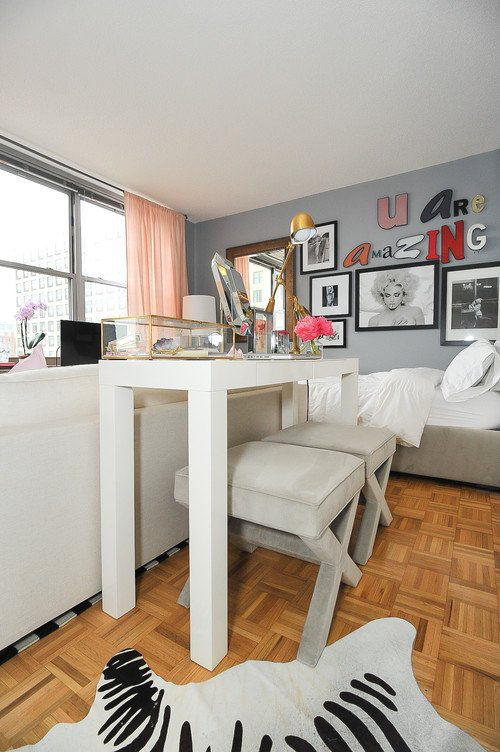 white console table for small studio apartment