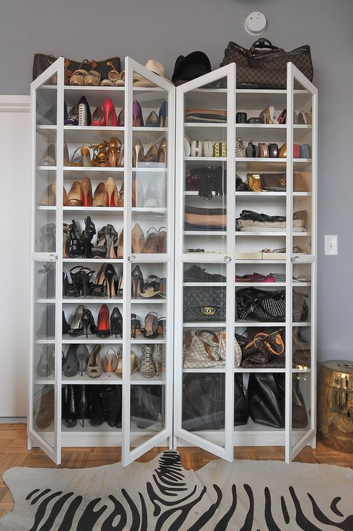 shoe storage cabinet in small studio apartment