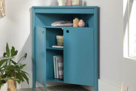 blue corner storage cabinet