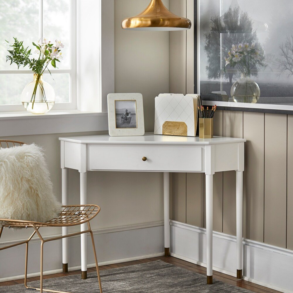 white and gold mid-century corner desk