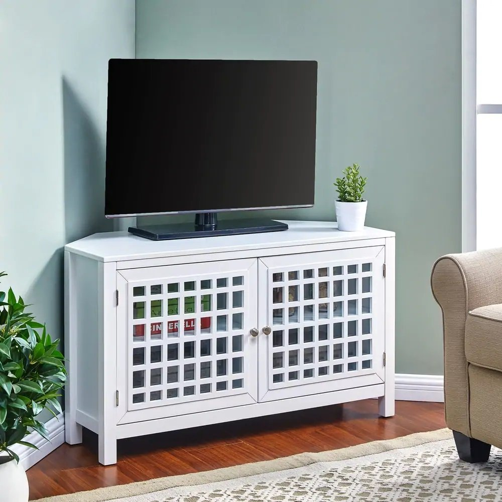 white corner tv stand with storage
