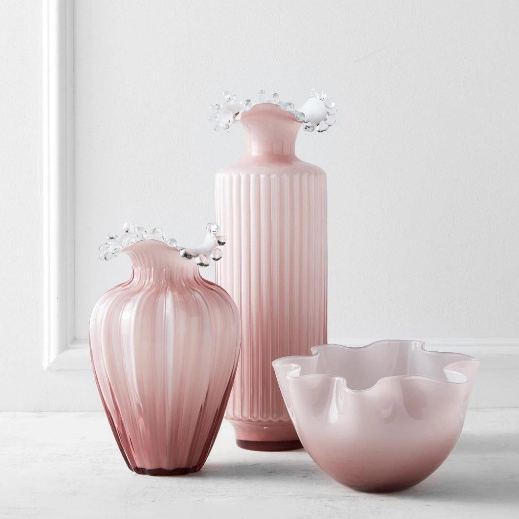 handblown milk glass in soft blush