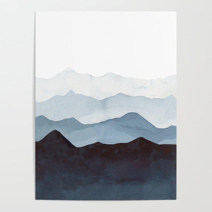 Indigo Mountains Landscape Poster