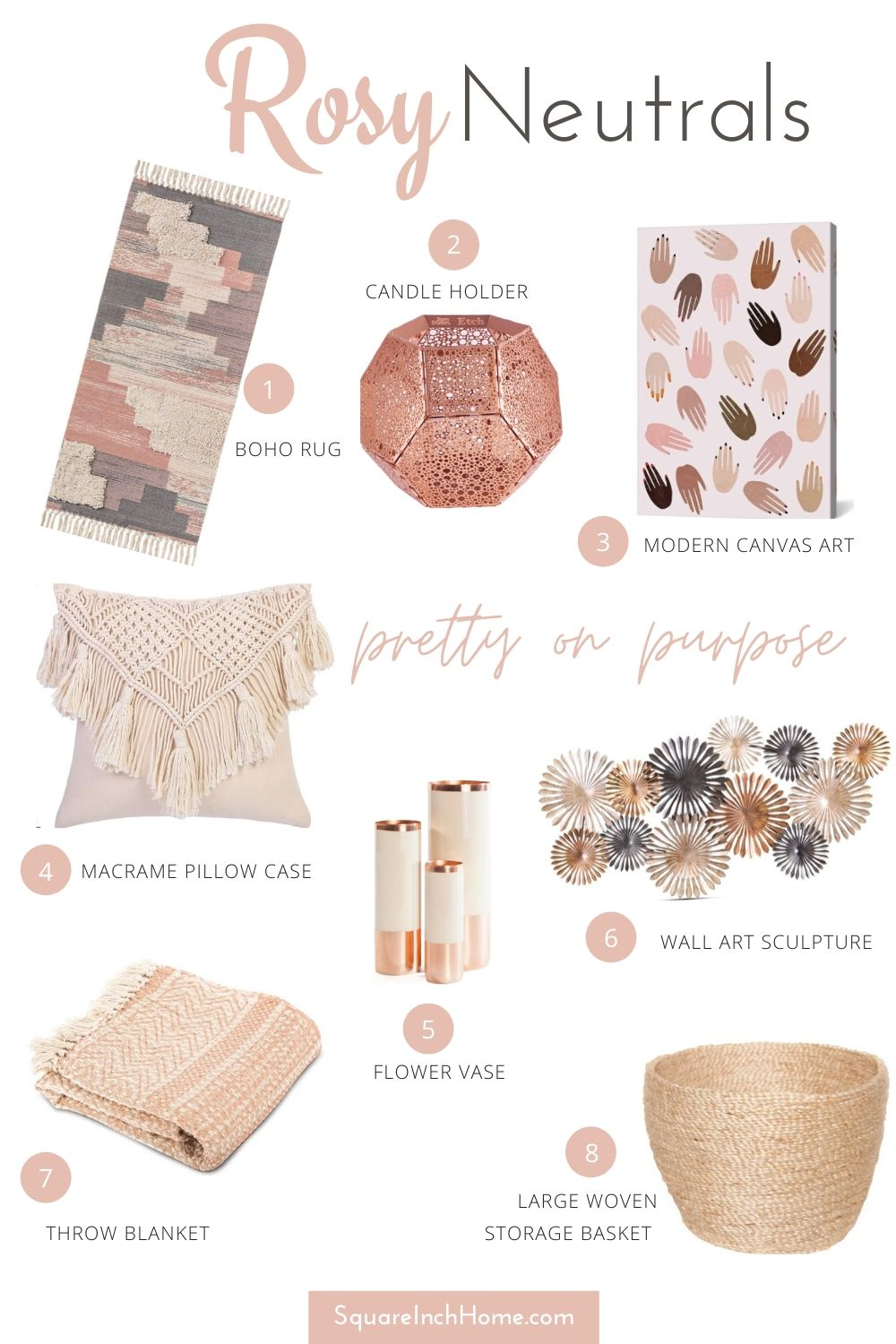 Summer Decor accents rosy neutrals