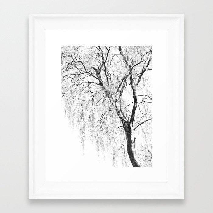 White snow tree Framed Art Print