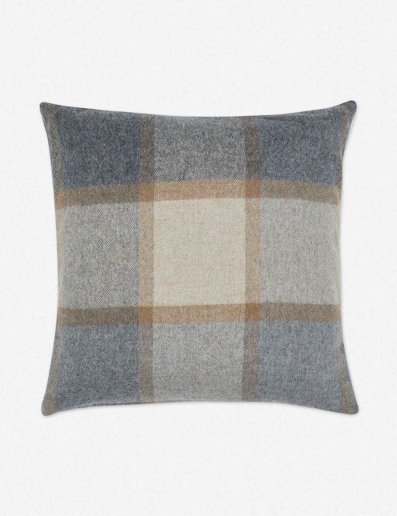 blue and biege plaid accent pillow