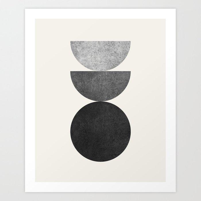 Woodblock B&W Mid century modern Arte Print