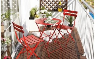 red bistro set for small balcony