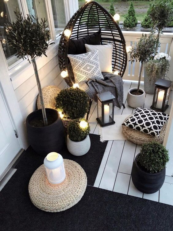 black and white small balcony decor