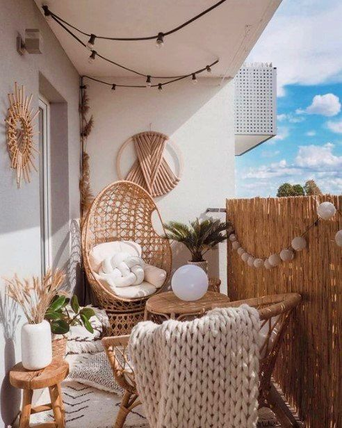 boho natural small balcony decor