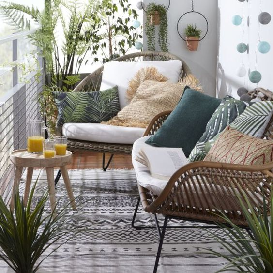 small balcony rattan chairs