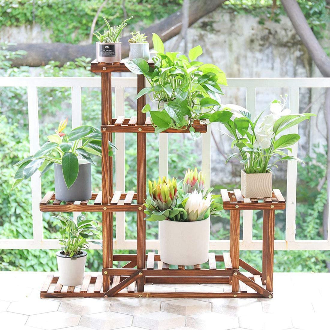 outdoor balcony plant shelf