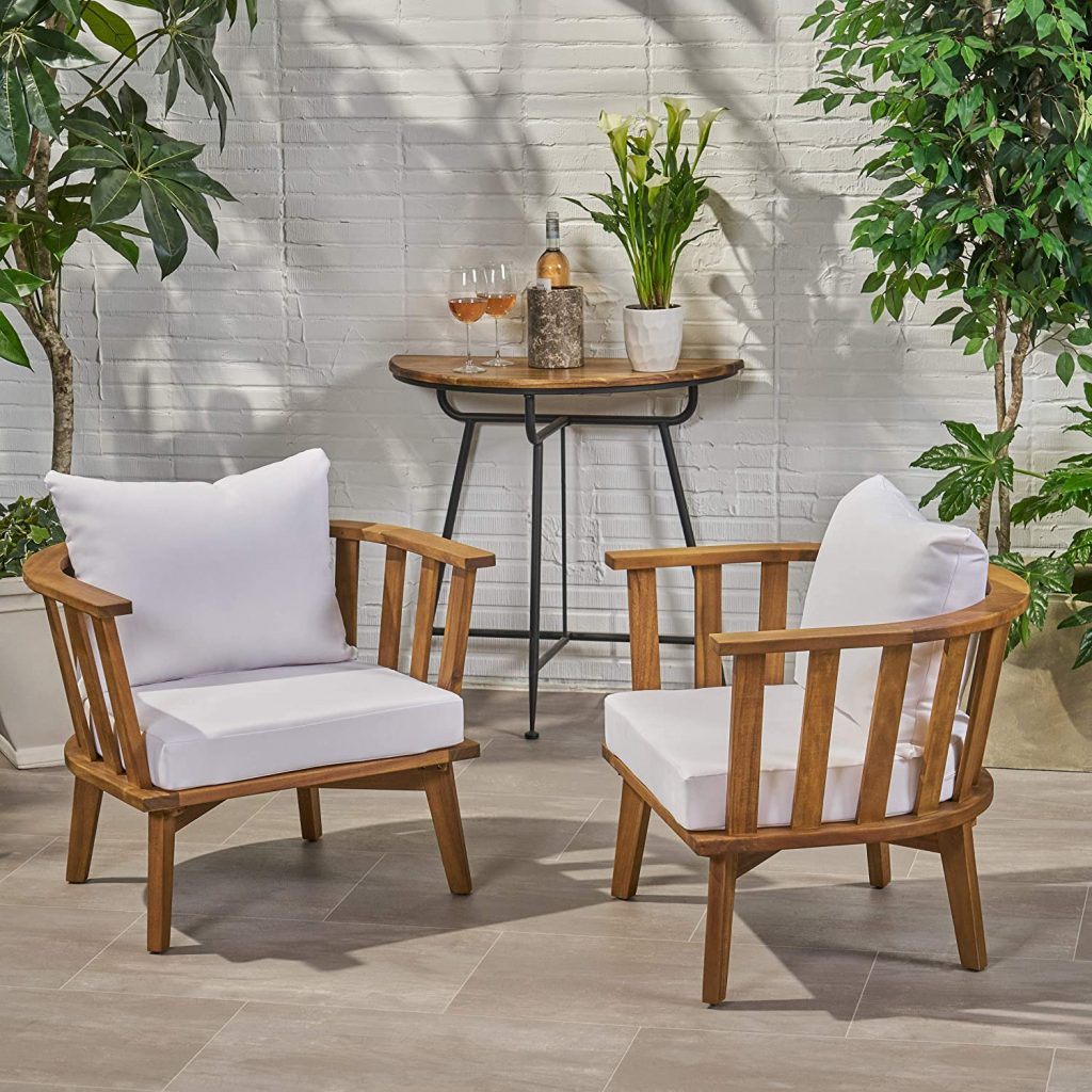 outdoor wooden club chair white and wood chair set
