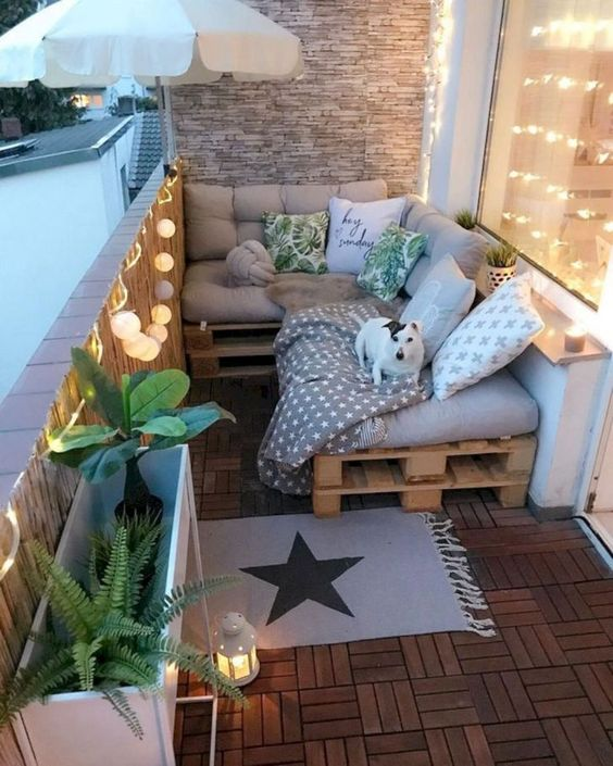 small balcony pallet chairs