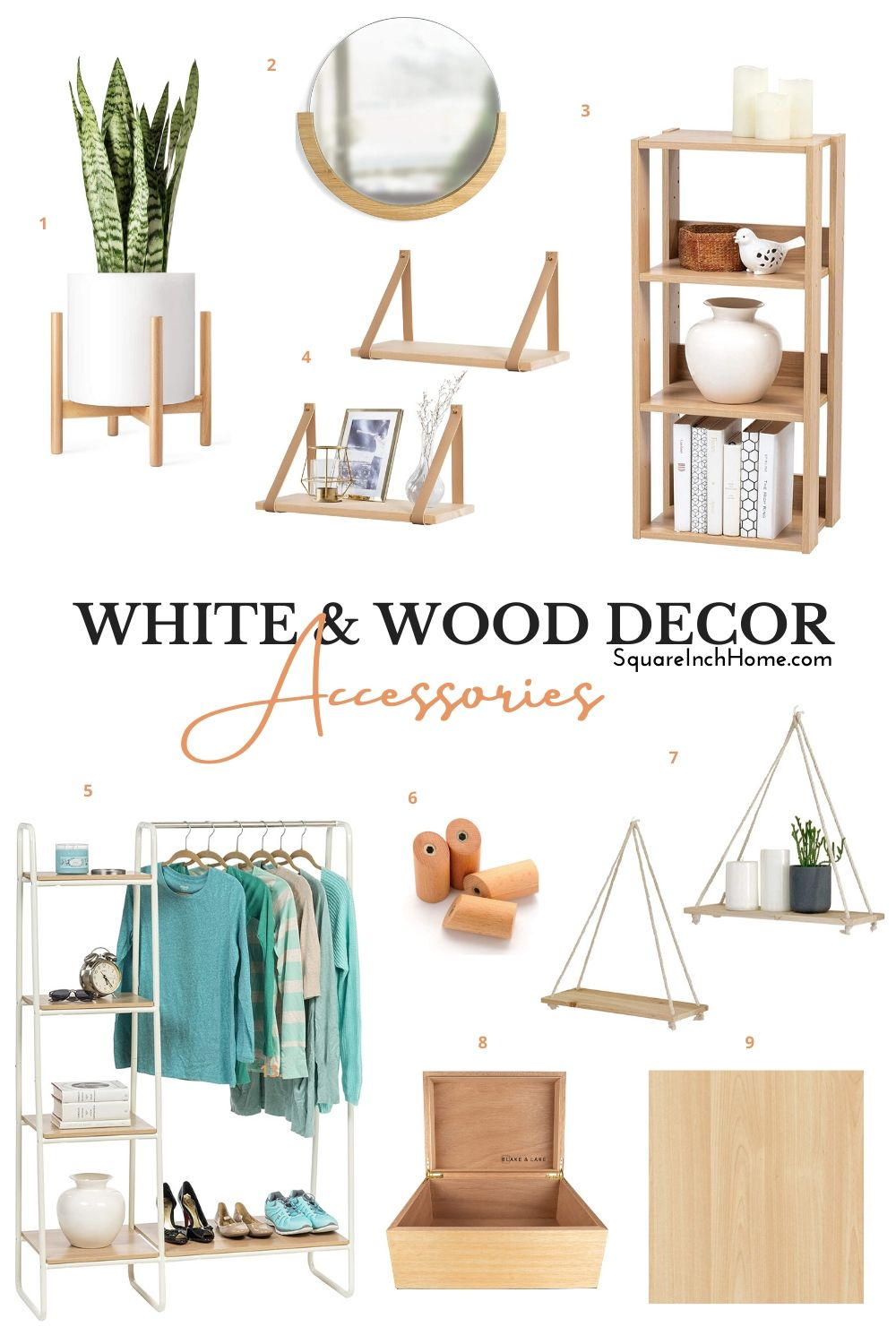 white and wood decor accessories