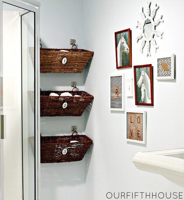 wall-mounted basket storage for bathroom