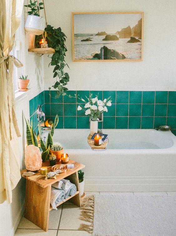 small boho bathroom decor with green wall tiles