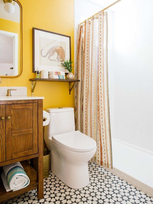 bold yellow color in small bathroom
